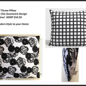 NWT Doubled Sided J Crew Pillow Black White